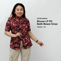 Blouse Jumbo Batik Wanita Atasan Batik Baju Kerja Bigsize SeragamBatik - S
