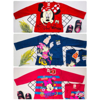 kaos atasan anak perempuan minnie merah uk 1-9 tahun / baju kaos anak