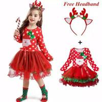 baju pesta anak perempuan/baju natal dengan rok tutu set bando - red, 2-3 tahun