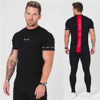 304 LIST RED - Kaos Gym fitnes pria / baju training olahraga running