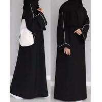 Abaya Gamis Arab hitam lis Elegant