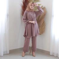 Baju Setelan Wanita Terbaru 2020 Polos Set Muslim Tunik Dan Celana