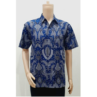 Kemeja Hem Baju Seragam Pria Batik Kantor 2925 Biru BIG SIZE