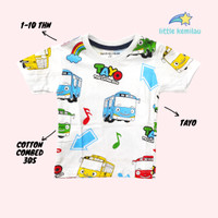 [PREMIUM] Baju Kaos Atasan Anak Bayi Balita Motif Tayo Fullprint