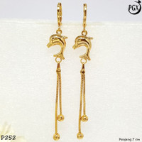 Anting Korea Panjang Perhiasan Xuping Lapis Emas - P252