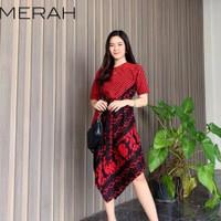 dress batik cantik anggun wanita baju minidress natal imlek unik