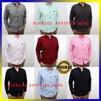 Baju Kemeja Pria Lengan Panjang Cowok Hem Polos Hitam Kasual Formal XL