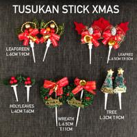(2pcs) Tusukan Stick Xmas / dekorasi kue cake topper hiasan kado natal