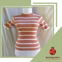 Baju Atasan Wanita Rajut Lengan Pendek Paster Knit Top Premium Belang