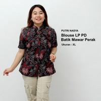 Blouse Big Size Batik Wanita Atasan Batik Baju Kerja Big Size Seragam - S