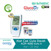 alat cek gula darah gluco dr agm 4000 auto a + strip 25 glucodr