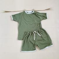 (NEW) Haru Set ROOROOKIDS Setelan Bayi Katun Rib Unisex 1-3 tahun - Hijau, 12-18 Bulan
