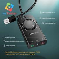 Ugreen External USB Sound Card Soundcard Audio for Komputer Desktop