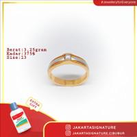 Cincin Emas Kuning Model Ring Kombinasi Putih + 1 Permata Putih # 150