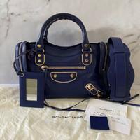 Preloved Balenciaga Mini City Metallic Edge - Blue Roi