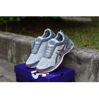 Promo Sepatu badminton Voly / Asics gel grey lis merah