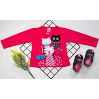 baju kaos atasan anak perempuan kucing uk 1-9 tahun tangan panjang