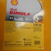 oli OIL oli Oli shell Rimula R3 MV15W - 40/ DRUM 209LT MESIN DIESEL