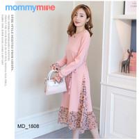 Mommymine Baju Hamil / Dress Hamil Menyusui Impor (MD_1808) - Merah Muda, M