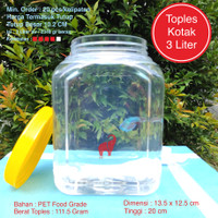 Toples Plastik Kotak Ikan Cupang 3 Liter Tebal