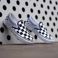 Sepatu Sneakers Unisex Vans Slip On Mix Checkerboard Black white