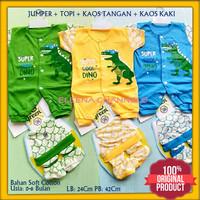 Baju Setelan Jumper Bayi Baru Lahir Laki-laki 0-6 Bulan Motif Dino - Kuning