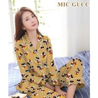 Setelan Baju Tidur Piyama Wanita XL Tangan Panjang Katun Tie Dye - Mickey Coksu
