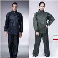 POLE Jas Hujan Baju Celana Bahan Tebal Full Anti Air Motor Pria Wanita