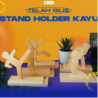 hp stand holder kayu