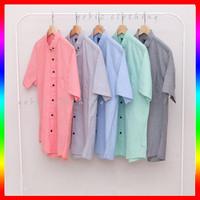Kemeja Polos Pria Lengan Pendek Cowok Baju Premium Hem Kerja Kantor XL - Putih, M