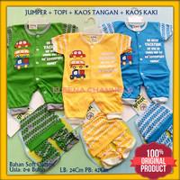 Baju Setelan Jumper Bayi Baru Lahir Laki-laki 0-6 Bulan Motif Mobil