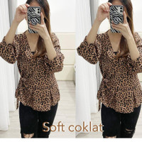 kimono blouse leopard macan blus atasan baju wanita loreng korea