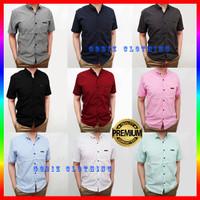 Baju Kemeja Pria Lengan Pendek Cowok Premium Hem Polos Casual Formal - Putih, M