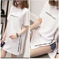 Fashion Baju Atasan Kaos Tshirt Oblong Dress Wanita Cewek FIT M