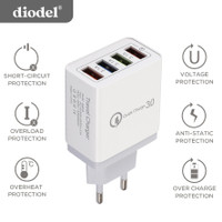 Diodel Travel Charger 4 Port USB Fast Charger