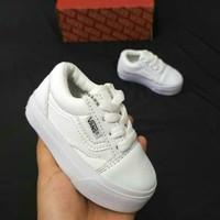sepatu baby vans anak FUll white model Tali