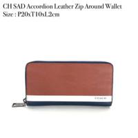Dompet Wanita Coach SAD accordion Leather zip Aroun wallet