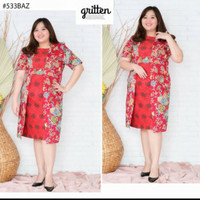 dress batik brokat super jumbo wanita 533 baz