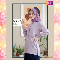 Nibras Atasan NA 45 Warna Ungu Lilac Baju Tunik Blouse Kerja Kantoran