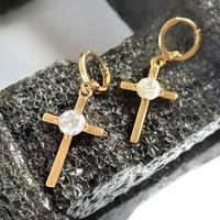Robagin Anting Salib Kristal Perak Emas Pria Wanita Korea keren ANT247
