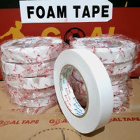 DOUBLE TAPE FOAM PUTIH (1 inch × 5M) DOUBLE TAPE BUSA PUTIH MURAH