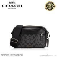 Coach Crossbody Bag Graham Signature Canvas Black Charcoal Original