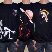 T-shirt Kaos Distro Pria Luffy Onepiece FOSmode
