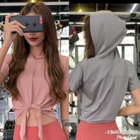 Baju sport hoodie atasan topi tali ikat olahlagara senam wanita T063