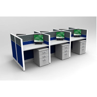 Jual meja partisi kantor 6 staff ukuran meja P.100 x 60 panel T 110 cm