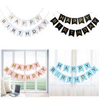 Banner Flag Happy Birthday / Ulang Tahun Tulisan Gold