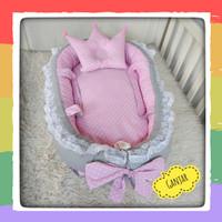 Baby Nest Kasur Bayi Bentuk Perahu Warna Pink Abu Polos