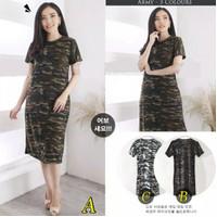 Dress Army Loreng Henna Baju Wanita Best Seller LNS