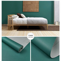 wallpaper sticker dinding hijau pekat polos berserat mewah elegan