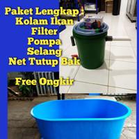 Paket Bak Fiber Oval 135x80xT50cm Kolam Ikan Plus Filter (Free Ongkir)